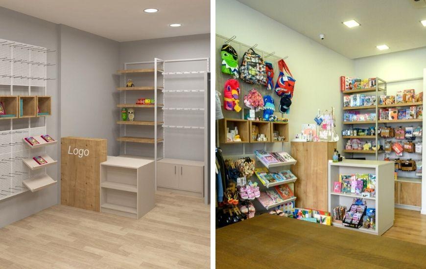 σχεδιασμος και κατασκευη επιπλωσης μαγαζιου παιδικων ειδων